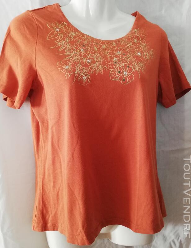Tshirt orange motifs dorés 38 eo63 407554010