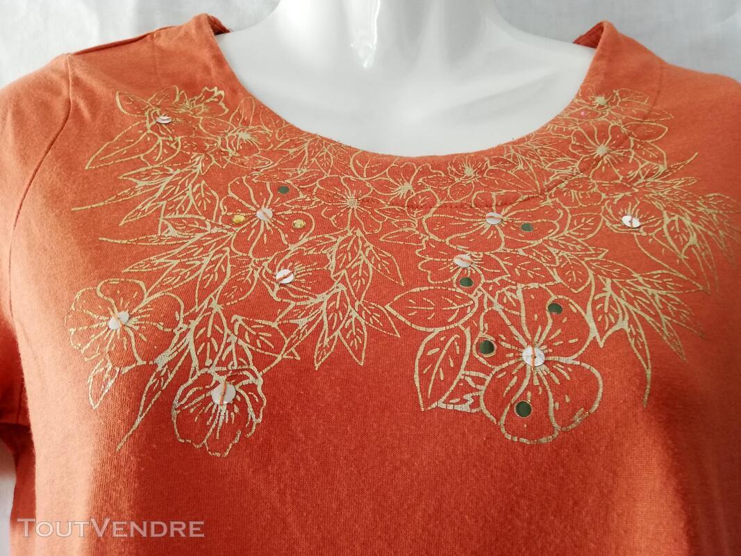 Tshirt orange motifs dorés 38 eo63 407554013