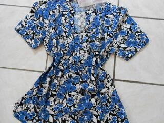 Tunique vintage imprimé rétro fleurs bleu 38-40 NEUF