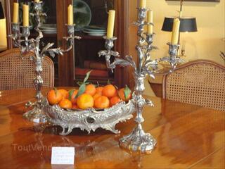 Une jardinière de table et 2 candélabres XIX ème