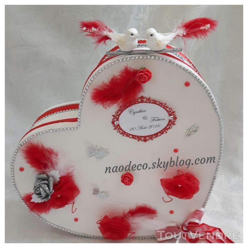 Urne mariage coeur blanc rouge 144303070