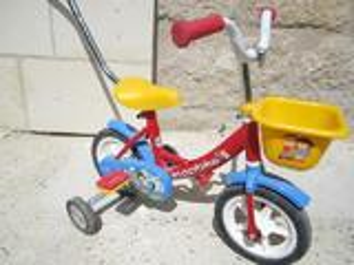 Vélo avec roulettes et canne 1er age