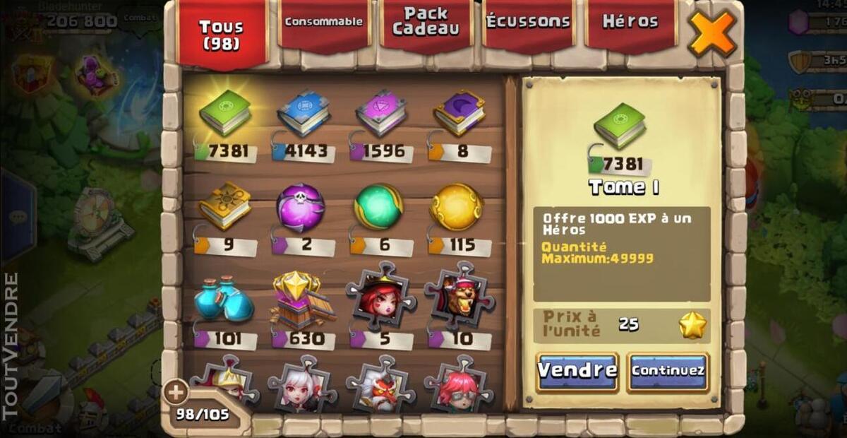 Vend compte castle clash 507869894