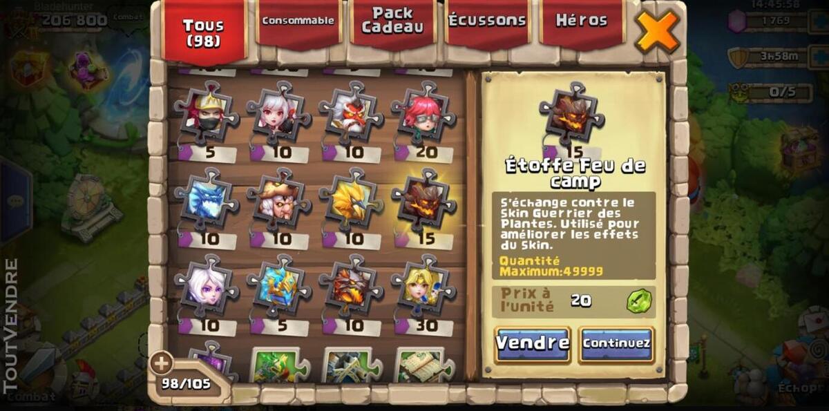 Vend compte castle clash 507869897