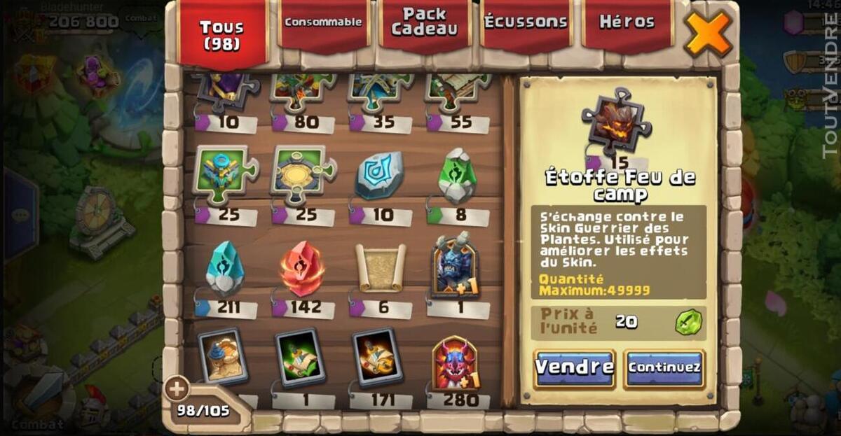 Vend compte castle clash 507869900