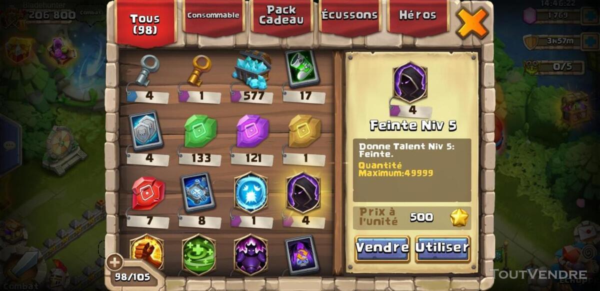 Vend compte castle clash 507869903
