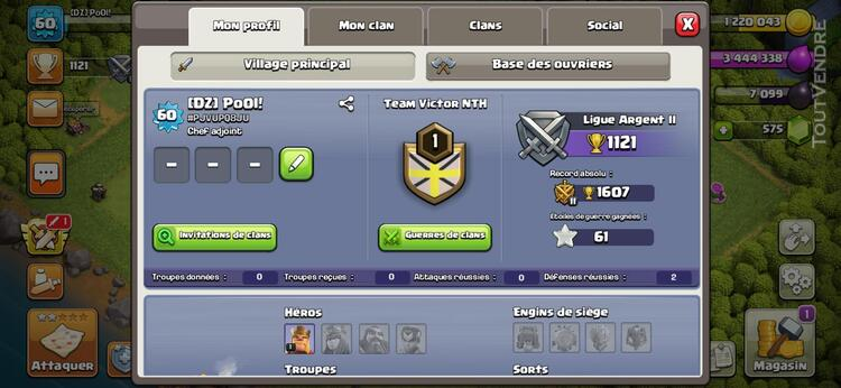 Vend compte clash of clan hdv 7 659717307
