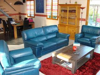 Vend salon cuir canapé + 2 fauteuils