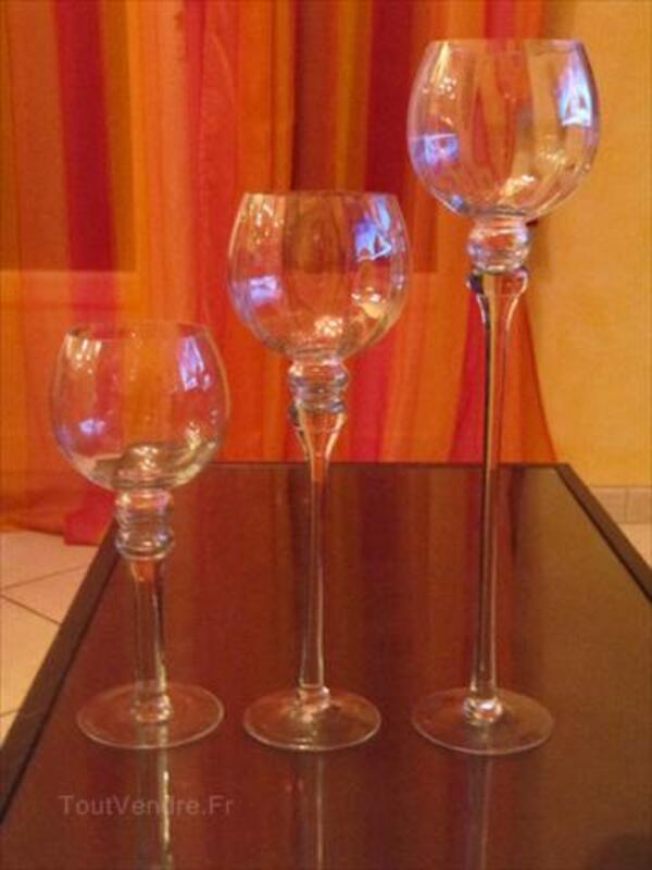 Vends 1 ensemble de 3 photophores en verre transparent 66069367