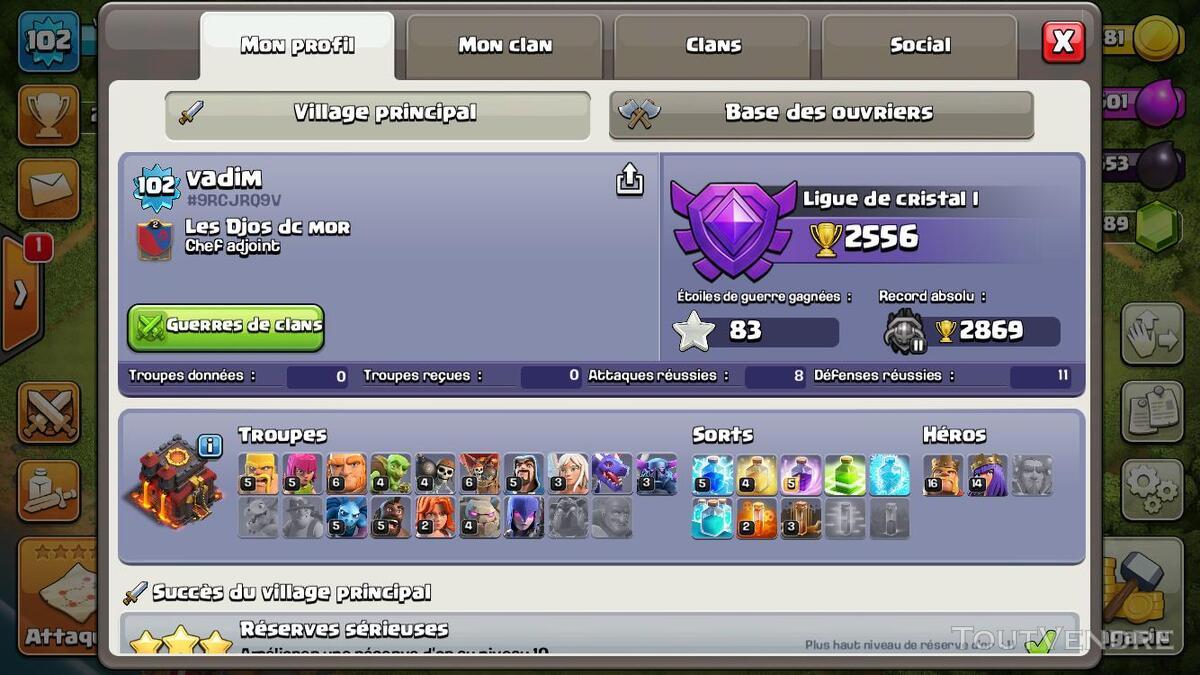 Vente compte clash of clan HDV 10, 7289 gemmes, héros 14/16 235475251