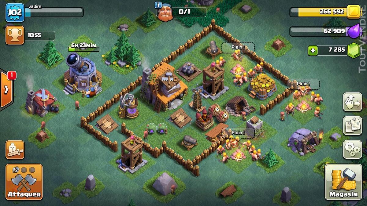 Vente compte clash of clan HDV 10, 7289 gemmes, héros 14/16 235475272