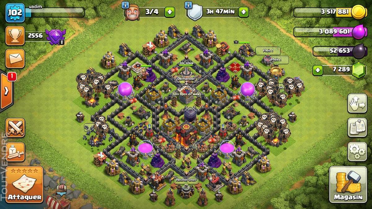 Vente compte clash of clan HDV 10, 7289 gemmes, héros 14/16 235475275