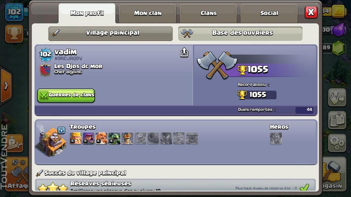 Vente compte clash of clan HDV 10, 7289 gemmes, héros 14/16 235476907
