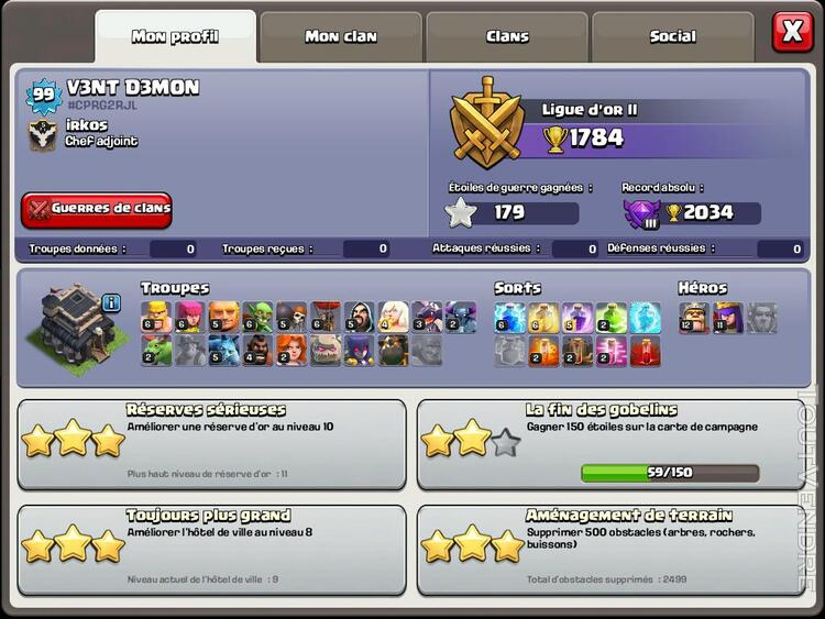 Vente compte Clash of Clans 151806620