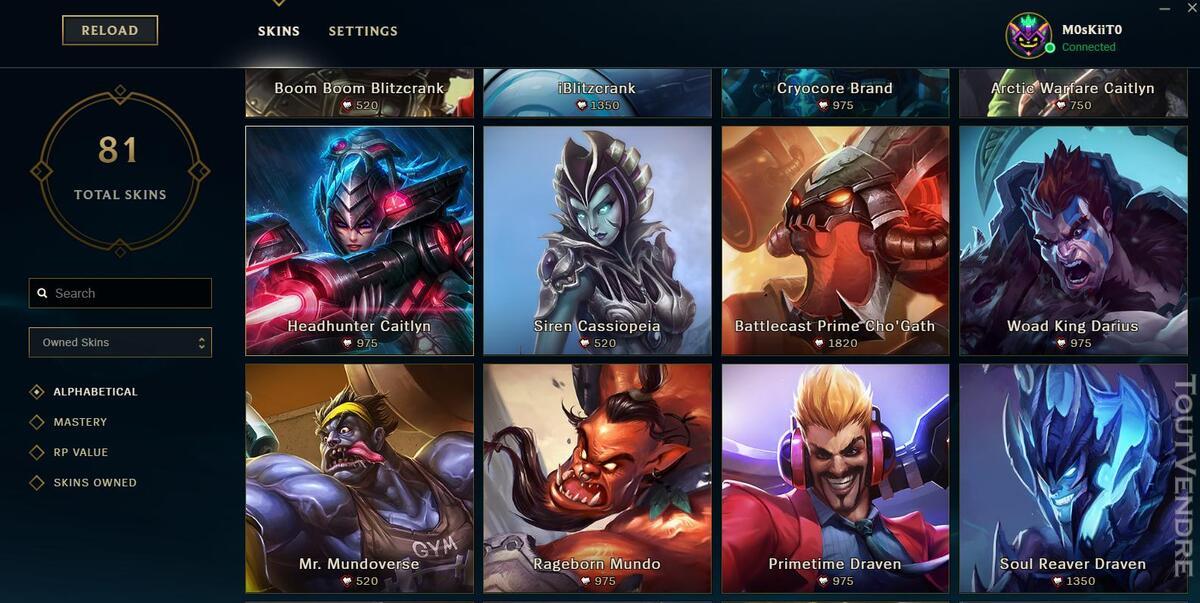 Vente Compte League of legends 332329846