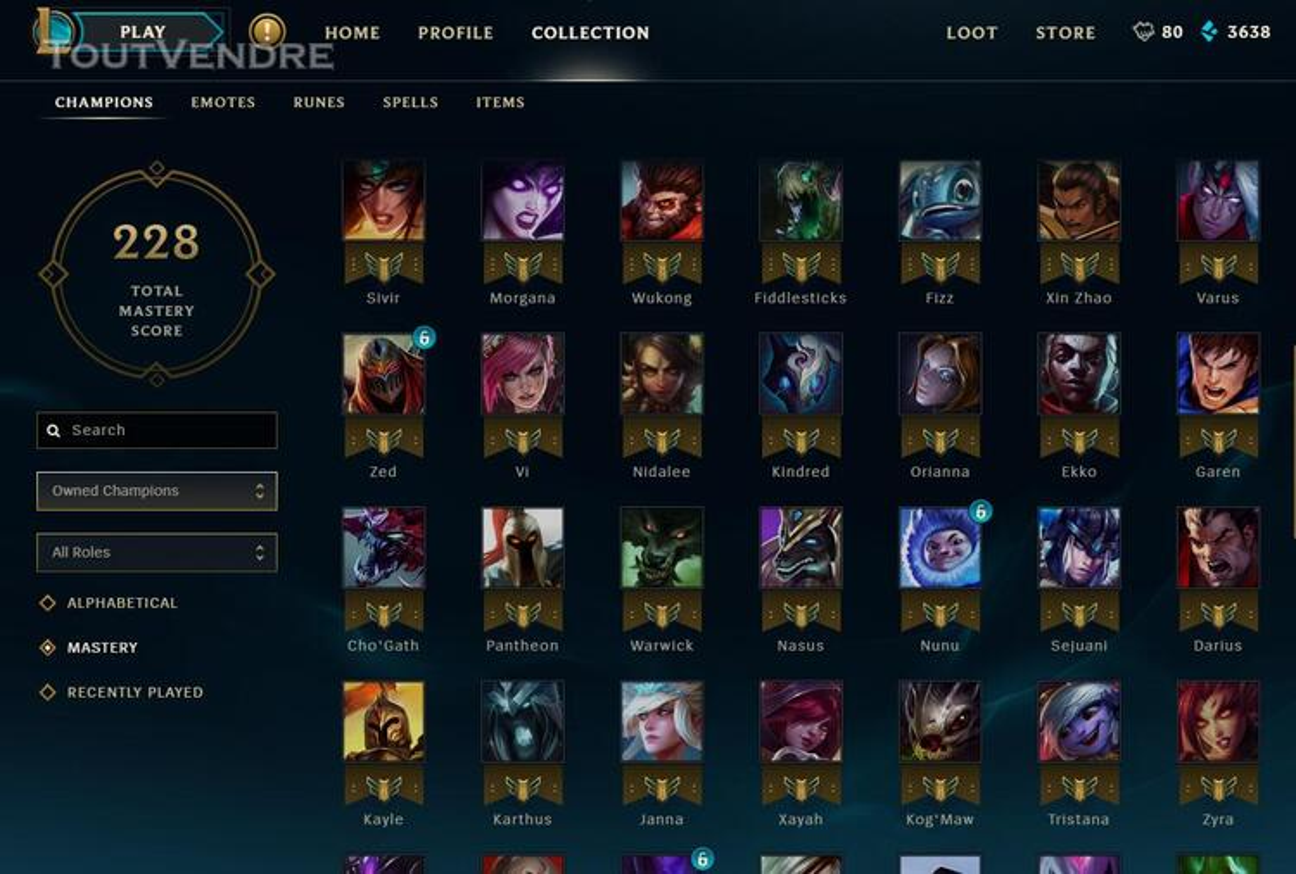 Vente Compte League of legends 332329873