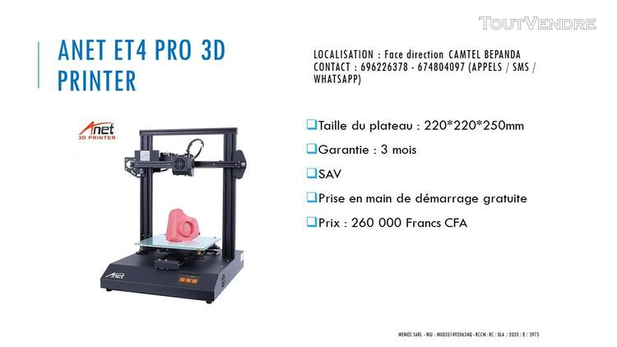 Vente des imprimantes 3D sur douala 741104073
