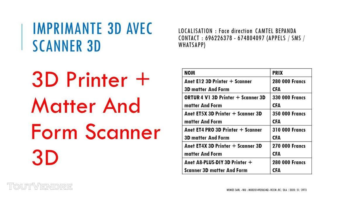 Vente des imprimantes 3D sur douala 741104091