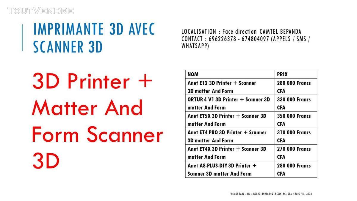 Vente des Scanners 3D sur douala 741349700