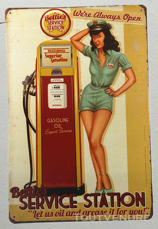 Vintage Pin-Up Plaque Pub Essence en Métal rétro 30 X 20 cm 265789349