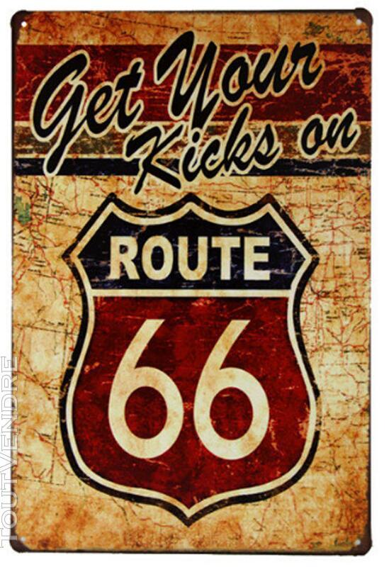 Vintage Route 66 Plaque Publicitaire Métal rétro 30 cm X 20 265747234