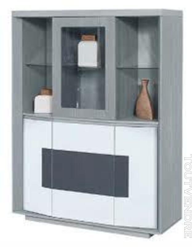 Vitrine 4 portes  bois laqué blanc et gris PLITOU 624208130