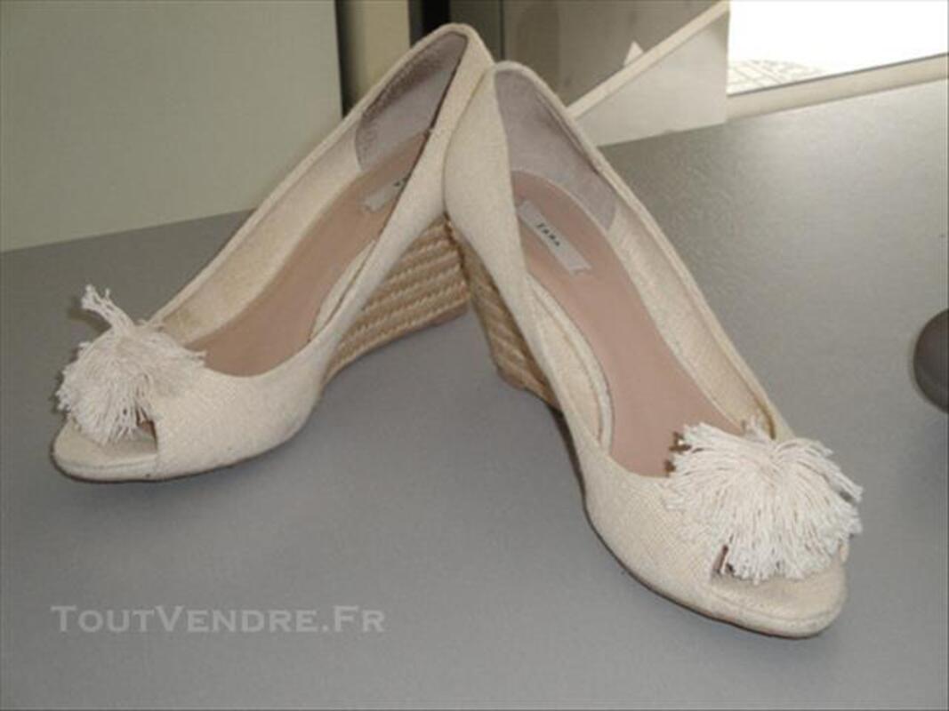 YEMAT13, chaussure jute écru, talon compensé ZARA  40 84784976