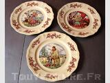 3 ASSIETTES PLATE SARREGUEMINES FRANCE MA MORMANDIE