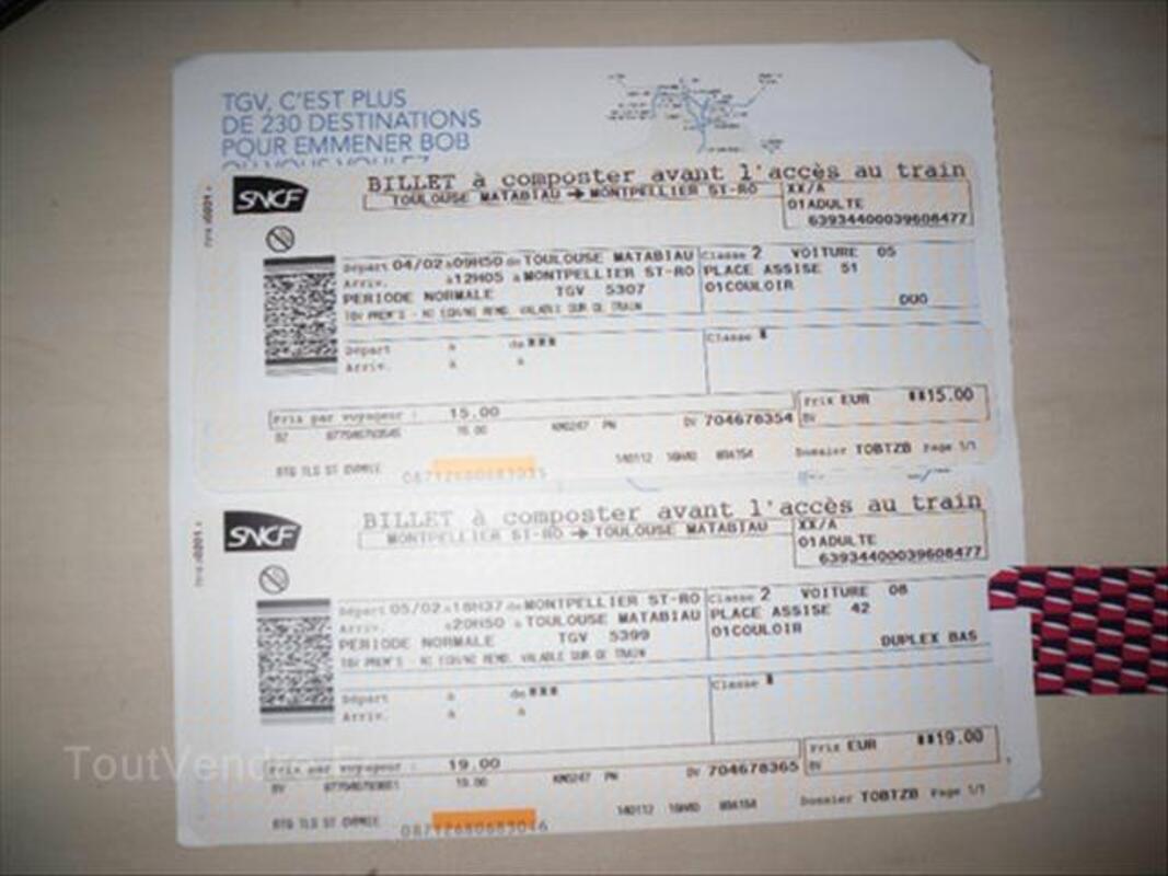 Billets train Toulouse - Montpellier 4 et 5 février