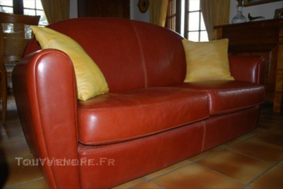 Canapé cuir et fauteuil club DUVIVIER