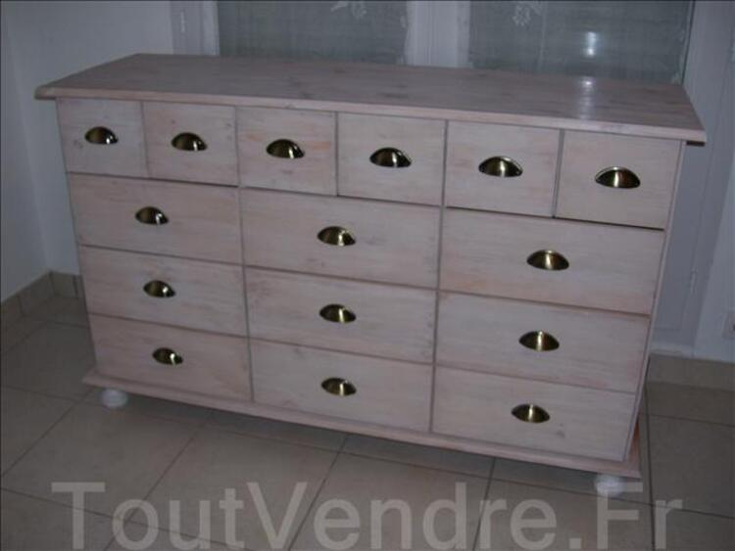 p Commode  tiroirs en pin blanchi