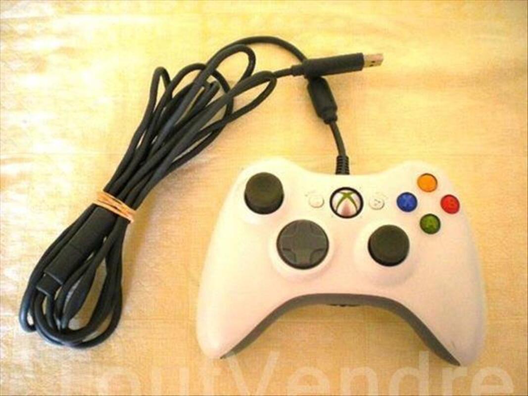 Manette Xbox 360 Filaire Officielle Blanche - PRO