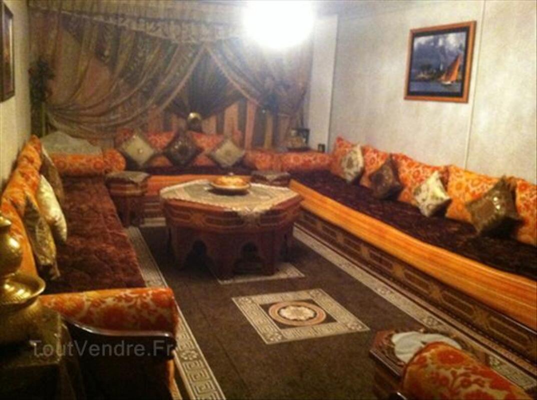 salon de type marocain orange et marron chocolat assat - Salon Marocain Moderne Orange Marron