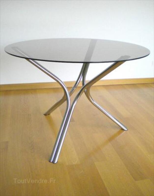 p Vintage Table Verre ronde Moderniste des annCAes