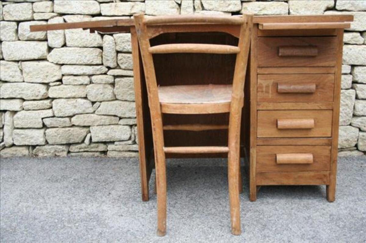 Ancien bureau chaise en bois enfant École jazeneuil