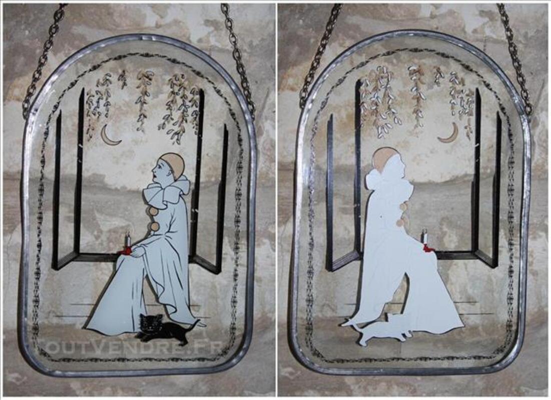 Ancien Pierrot Dessin Sur Plaque De Verre Avec Cadre