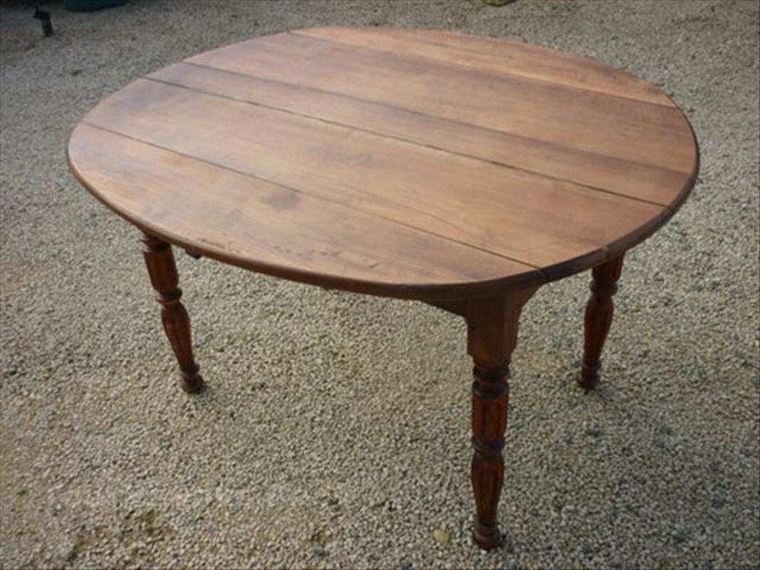 Ancienne Table Ronde Bois Rettel 57480 Ameublement
