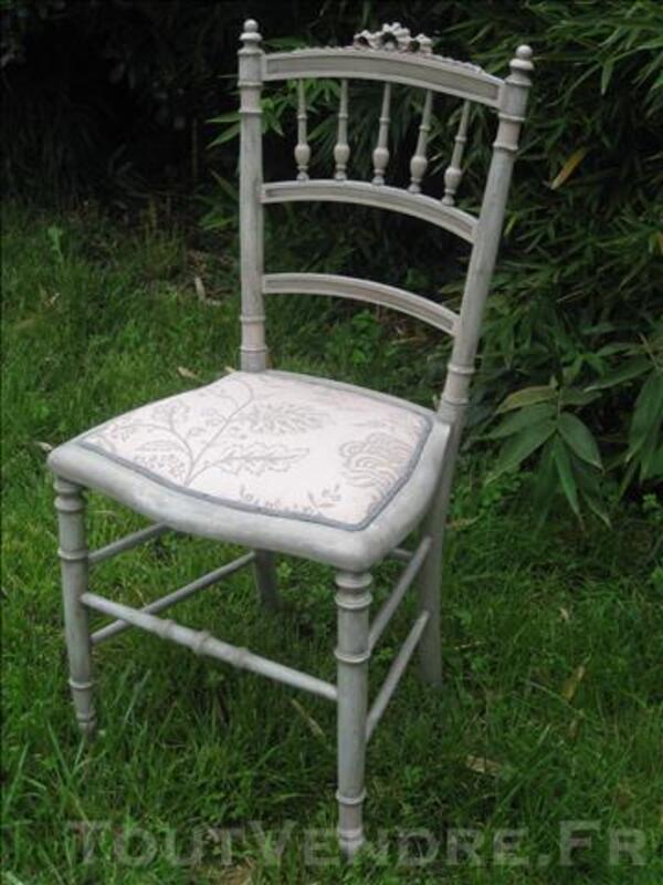 Chaise Style Napolon III En Gris Et Rose Poudr 77987358
