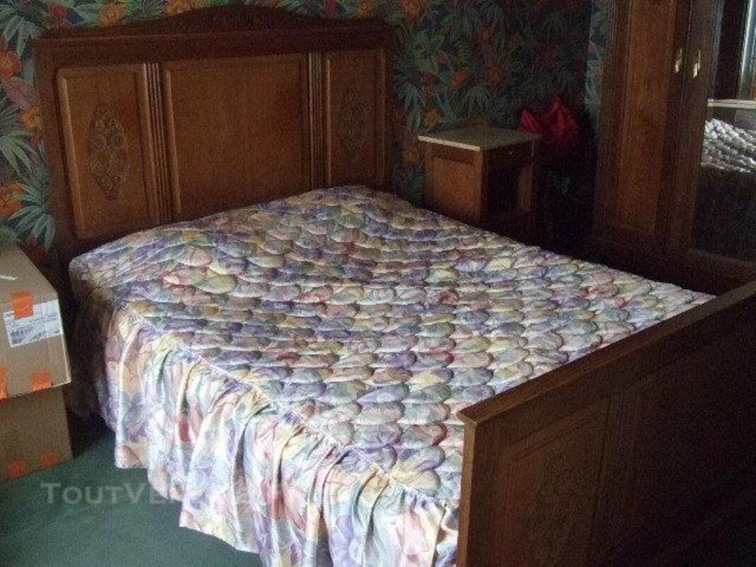 Chambre Ancienne Lit+Armoire+Table Chevet Marbre ...
