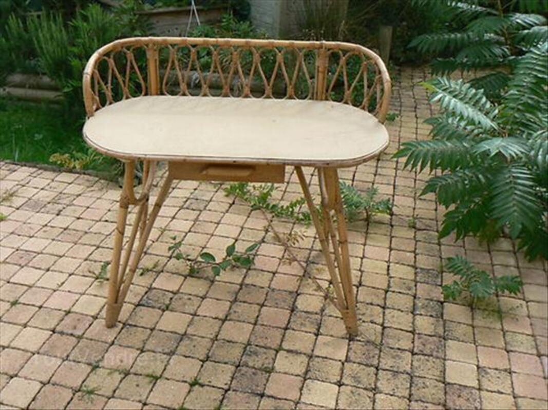 Coiffeuse bureau en osier bambou vintage superbe francheleins