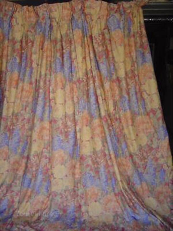 Double Rideaux Imprimes Motifs Fleurs Lillers 62190 Linge De Maison