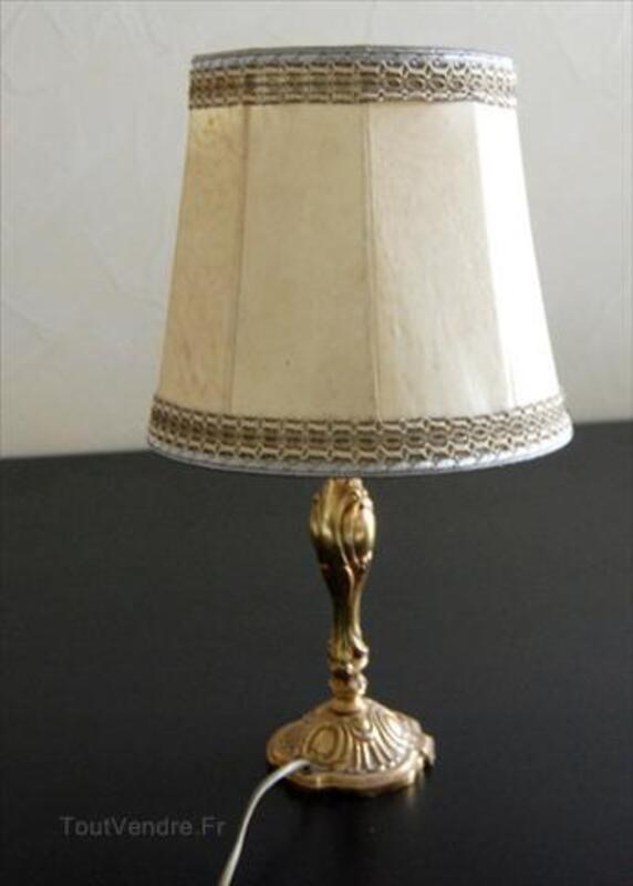 Lampe Ancienne Pied Bronze Abat Jour En Buffle Fieulaine 02110