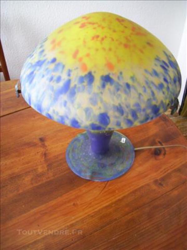 Lampe Champignon Muller Freres Art Deco Pate De Verre Bois 17240