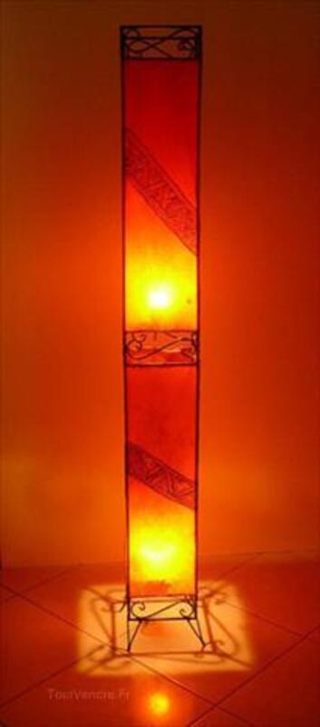 Lampe Marocaine En Peau Et Fer Forge Lavalette 11290 Decoration