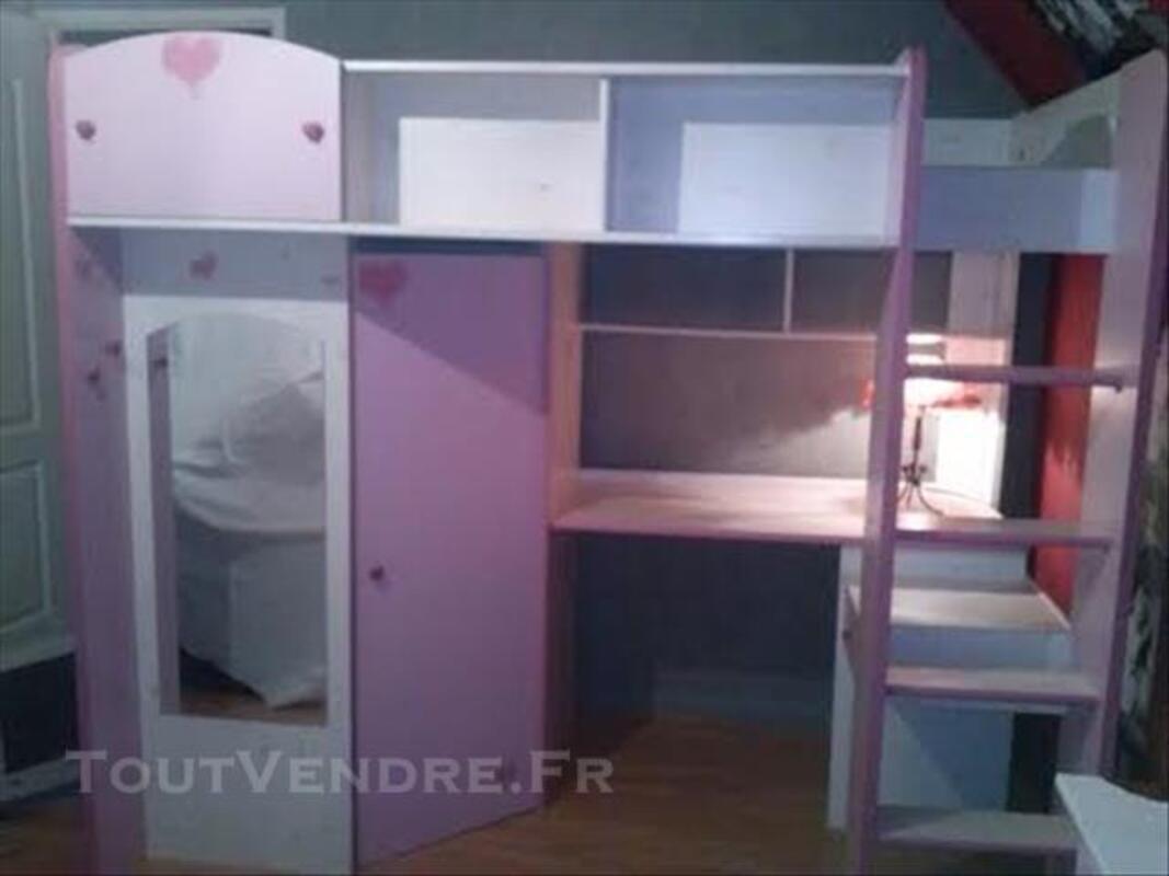 Lit Fille Mezzanine Dressing Bureau Compact Forges Les