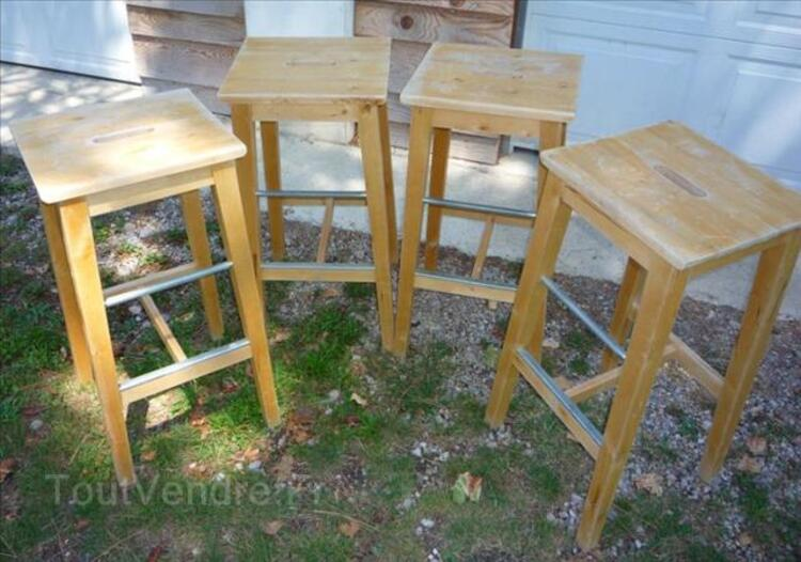 Lot De 4 Tabourets Chaise De Bar En Bois Ikea Bosse Le Thil