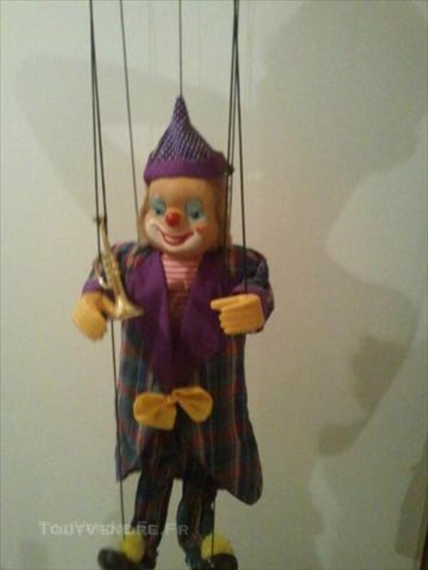 A Fils Tete Et Pieds En Porcelaine Marionnette Clown