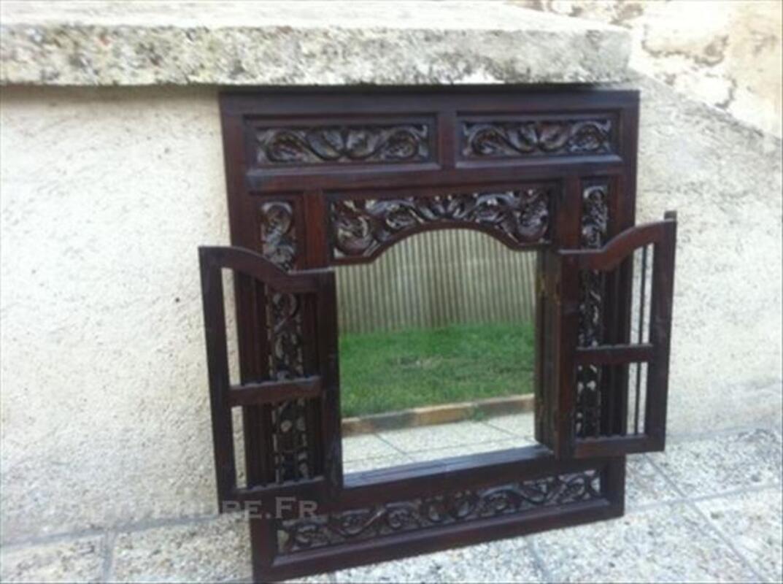 Miroir Fenêtre Bois Exotique Tbe Villabé 91100 Décoration