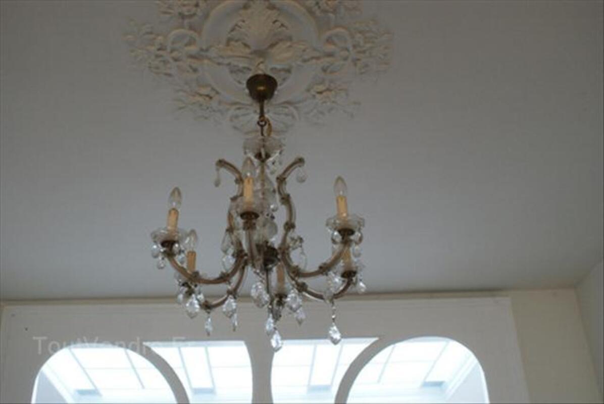 Superbe lustre ancien pampilles verre cristal saint loubouer 40320 - Lustre a pampilles ancien vendre ...