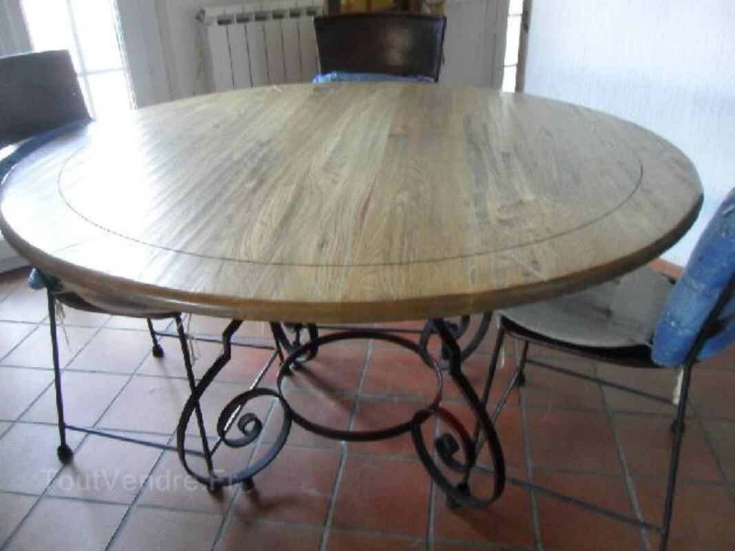 table et chaises fer forg et ch ne bois et chiffon pierre 73220. Black Bedroom Furniture Sets. Home Design Ideas